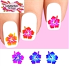Colorful Hawaiian Hibiscus Flowers Assorted Set of 20 Waterslide Nail Decals