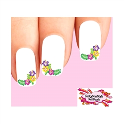 Corner Hawaiian Hibiscus Flowers Waterslide Nail Decals