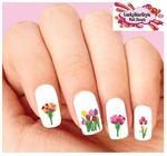Colorful Tulips Assorted Set of 20  Waterslide Nail Decals