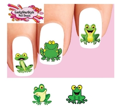Cute Green Frog Assorted Set of 20 Waterslide Nail Decals