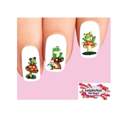 Cute Frogs on Mushrooms Assorted Set of 20 Waterslide Nail Decals