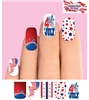 4th of July Stars Flag Fireworks Set of 10 Full Waterslide Nail Decals
