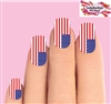 4th of July American Flag Set of 10 Full Waterslide Nail Decals