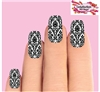 Black Baroque Lace Set of 20 Waterslide Full Nail Decals