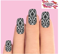 Black Baroque Lace Set of 10 Waterslide Full Nail Decals