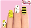 Bees Honeycomb Stripes Assorted Set of 10 Full Waterslide Nail Decals