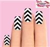 Black & Clear Chevron V Stripe Set of 10 Full Waterslide Nail Decals