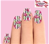 Black Stripes with Pink Roses Set of 10 Waterslide Full Nail Decals
