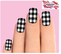 Black & Clear Buffalo Plaid Set of 10 Full Waterslide Nail Decals