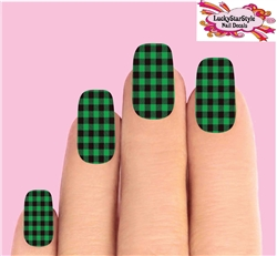Green Buffalo Plaid Set of 10 Waterslide Full Nail Decals