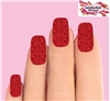 Christmas Holiday Red Cable Knit Sweater Set of 10 Full Waterslide Nail Decals