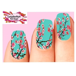 Teal Cherry Blossoms Assorted Full Waterslide Nail Decals