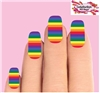 Colorful Rainbow Set of 10 Waterslide Full Nail Decals
