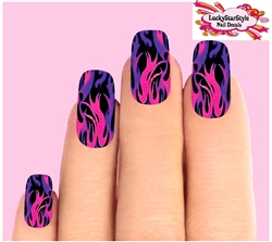 Pink & Purple Flames Fire Set of 10 Waterslide Full Nail Decals