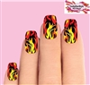 Yellow & Orange Flames Fire Set of 10 Waterslide Full Nail Decals