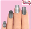 Houndstooth Black & Clear Waterslide Full Nail Decals