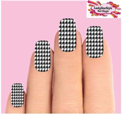 Houndstooth Black & Clear Set of 10 Waterslide Full Nail Decals