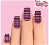 Houndstooth Pink Black & Clear Set of 10 Waterslide Full Nail Decals