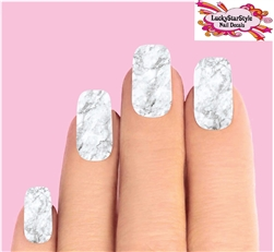 Light Grey Marble Set of 10 Full Waterslide Nail Decals