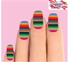 Colorful Mexican Blanket Serape Zerape Set of 10 Waterslide Full Nail Decals