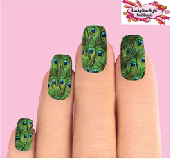 Peacock Feathers Set of 10 Waterslide Full Nail Decals