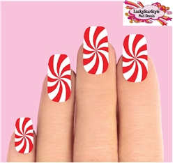 Christmas Holiday Candy Cane Peppermint Swirl Red & Clear Set of 10 Waterslide Full Nail Decals