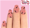 Red Plaid Tablecloth Picnic with Ants Set of 10 Waterslide Full Nail Decals