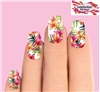 Pink Lilies with Palms Set of 10 Full Waterslide Nail Decals