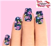 Pink & Purple Flowers Set of 10 Full Waterslide Nail Decals