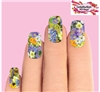 Purple Spring Flowers Set of 10 Full Waterslide Nail Decals