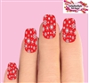 Holiday Christmas Red & Clear Snowflakes Set of 10 Full Waterslide Nail Decals