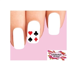 Gambling Card Suits Heart, Diamond, Spade & Heart Square Waterslide Nail Decals