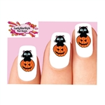 Halloween Black Cat in Pumpkin Waterslide Nail Decals