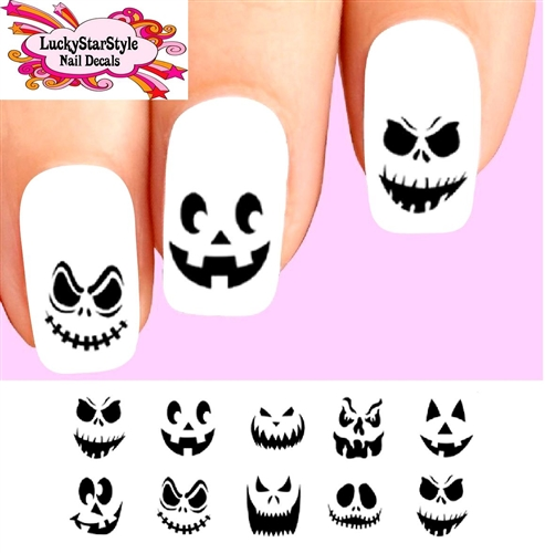 Pumpkin Jack O Lantern Faces Orted Waterslide Nail Decals