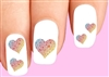 Colorful Rainbow Hearts Assorted Waterslide Nail Decals