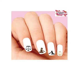 Law Laywer Scales of Justic & Gavel Assorted Waterslide Nail Decals