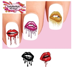 Lips Dripping Lipstick Mouth Assorted Set of 20 Waterslide Nail Decals