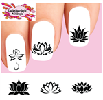 Lotus Flower Silhouette Black Assorted Set of 20 Waterslide Nail Decals