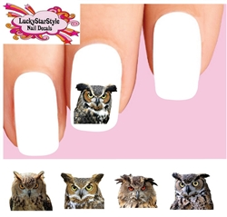 Owls Assorted Set of 20 Waterslide Nail Decals
