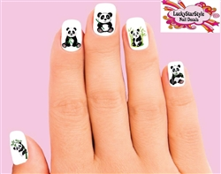 Panda with Bamboo Assorted Set of 20 Waterslide Nail Decals