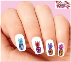 Colorful Pineapples Assorted Waterslide Nail Decals
