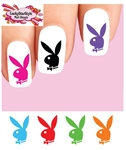 Colorful Playboy Bunny Set of 20 Waterslide Nail Decals