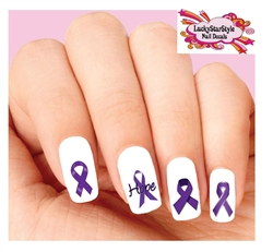 Purple Awareness Ribbon Assorted Set of 20 Waterslide Nail Decals