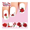 Red Roses Flowers Assorted Set of 48 Waterslide Nail Decals