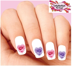 Pink & Purple Rose Hearts Assorted Set of 20 Waterslide Nail Decals