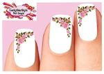 Roses Pink Corner Set of 20 Waterslide Nail Decals