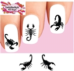 Black Scorpion Silhouette Assorted Set of 20 Assorted Waterslide Nail Decals