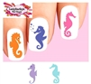 Colorful Seahorse Silhouette Assorted Set of 20 Waterslide Nail Decals