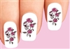 Skull with Pink Roses and Vines Waterslide Nail Decals