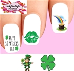 Happy St Patrick's Day Shamrock Leprechaun Rainbow Pot of Gold Set of 20 Assorted Waterslide Nail Decals